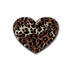 Background Fabric Animal Motifs Rubber Coaster (heart)  by Simbadda