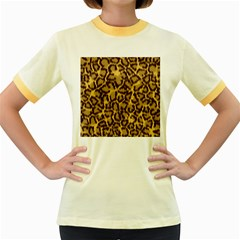 Seamless Animal Fur Pattern Women s Fitted Ringer T Shirts by Simbadda