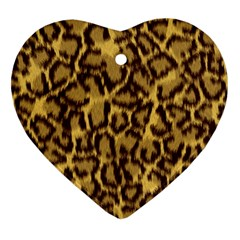 Seamless Animal Fur Pattern Heart Ornament (Two Sides)