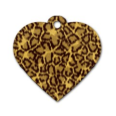 Seamless Animal Fur Pattern Dog Tag Heart (Two Sides)