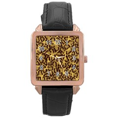 Seamless Animal Fur Pattern Rose Gold Leather Watch