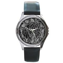 Gray Background Pattern Round Metal Watch by Simbadda
