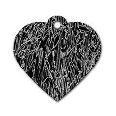 Gray Background Pattern Dog Tag Heart (two Sides) by Simbadda