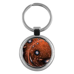 Fractal Peacock World Background Key Chains (round)  by Simbadda