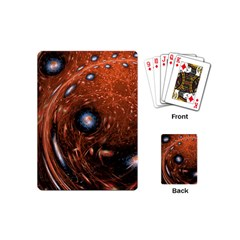 Fractal Peacock World Background Playing Cards (mini)  by Simbadda