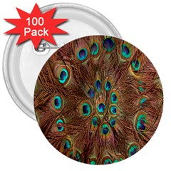 Peacock Pattern Background 3  Buttons (100 Pack)  by Simbadda