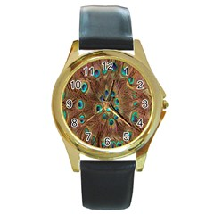 Peacock Pattern Background Round Gold Metal Watch by Simbadda