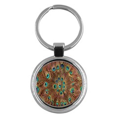 Peacock Pattern Background Key Chains (round)  by Simbadda