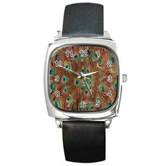 Peacock Pattern Background Square Metal Watch by Simbadda