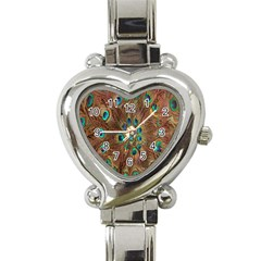 Peacock Pattern Background Heart Italian Charm Watch by Simbadda