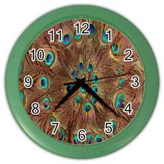 Peacock Pattern Background Color Wall Clocks by Simbadda