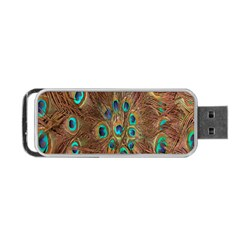Peacock Pattern Background Portable Usb Flash (two Sides) by Simbadda