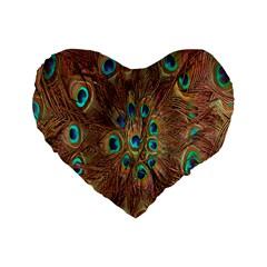 Peacock Pattern Background Standard 16  Premium Heart Shape Cushions by Simbadda