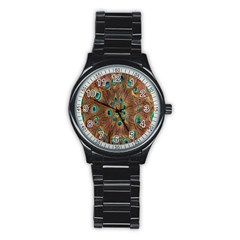 Peacock Pattern Background Stainless Steel Round Watch by Simbadda