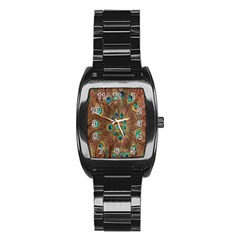 Peacock Pattern Background Stainless Steel Barrel Watch by Simbadda