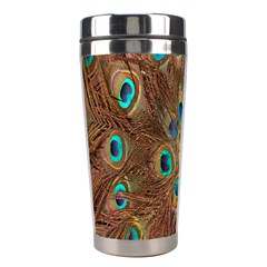 Peacock Pattern Background Stainless Steel Travel Tumblers by Simbadda