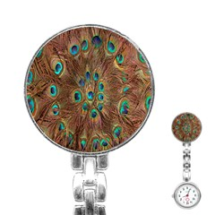 Peacock Pattern Background Stainless Steel Nurses Watch by Simbadda