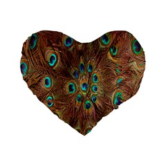 Peacock Pattern Background Standard 16  Premium Flano Heart Shape Cushions by Simbadda