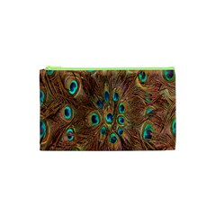 Peacock Pattern Background Cosmetic Bag (xs) by Simbadda