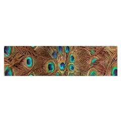 Peacock Pattern Background Satin Scarf (oblong) by Simbadda