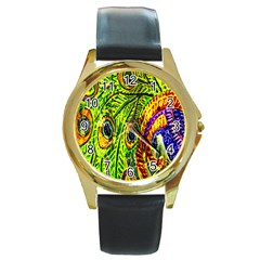 Glass Tile Peacock Feathers Round Gold Metal Watch by Simbadda