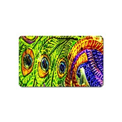 Glass Tile Peacock Feathers Magnet (name Card) by Simbadda