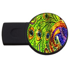 Glass Tile Peacock Feathers Usb Flash Drive Round (2 Gb) by Simbadda