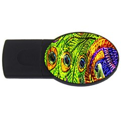 Glass Tile Peacock Feathers Usb Flash Drive Oval (2 Gb) by Simbadda