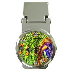 Glass Tile Peacock Feathers Money Clip Watches by Simbadda