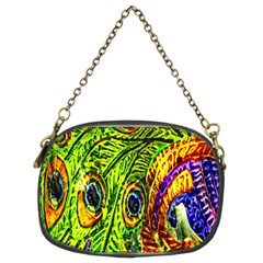 Glass Tile Peacock Feathers Chain Purses (two Sides)  by Simbadda