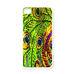 Glass Tile Peacock Feathers Apple Iphone 4 Case (white) by Simbadda