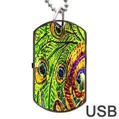Glass Tile Peacock Feathers Dog Tag Usb Flash (two Sides) by Simbadda