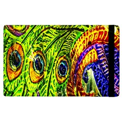 Glass Tile Peacock Feathers Apple Ipad 3/4 Flip Case by Simbadda
