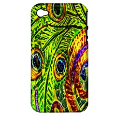 Glass Tile Peacock Feathers Apple Iphone 4/4s Hardshell Case (pc+silicone) by Simbadda
