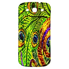 Glass Tile Peacock Feathers Samsung Galaxy S3 S Iii Classic Hardshell Back Case by Simbadda
