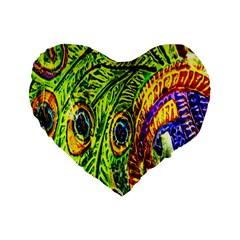 Glass Tile Peacock Feathers Standard 16  Premium Heart Shape Cushions by Simbadda
