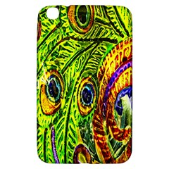 Glass Tile Peacock Feathers Samsung Galaxy Tab 3 (8 ) T3100 Hardshell Case  by Simbadda