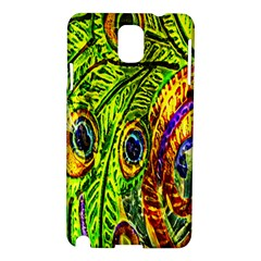 Glass Tile Peacock Feathers Samsung Galaxy Note 3 N9005 Hardshell Case by Simbadda
