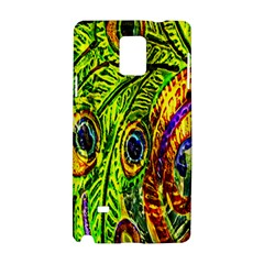 Glass Tile Peacock Feathers Samsung Galaxy Note 4 Hardshell Case by Simbadda