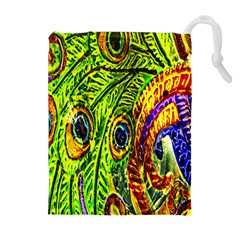 Glass Tile Peacock Feathers Drawstring Pouches (extra Large) by Simbadda