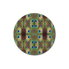 Beautiful Peacock Feathers Seamless Abstract Wallpaper Background Magnet 3  (round) by Simbadda