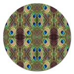 Beautiful Peacock Feathers Seamless Abstract Wallpaper Background Magnet 5  (Round) Front