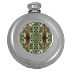 Beautiful Peacock Feathers Seamless Abstract Wallpaper Background Round Hip Flask (5 Oz) by Simbadda