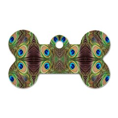 Beautiful Peacock Feathers Seamless Abstract Wallpaper Background Dog Tag Bone (two Sides) by Simbadda
