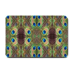 Beautiful Peacock Feathers Seamless Abstract Wallpaper Background Small Doormat  by Simbadda