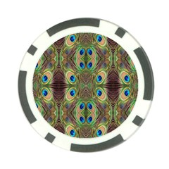 Beautiful Peacock Feathers Seamless Abstract Wallpaper Background Poker Chip Card Guard (10 Pack) by Simbadda