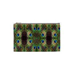 Beautiful Peacock Feathers Seamless Abstract Wallpaper Background Cosmetic Bag (small)  by Simbadda