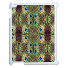 Beautiful Peacock Feathers Seamless Abstract Wallpaper Background Apple Ipad 2 Case (white) by Simbadda