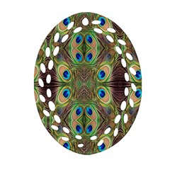 Beautiful Peacock Feathers Seamless Abstract Wallpaper Background Ornament (oval Filigree) by Simbadda