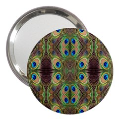 Beautiful Peacock Feathers Seamless Abstract Wallpaper Background 3  Handbag Mirrors by Simbadda
